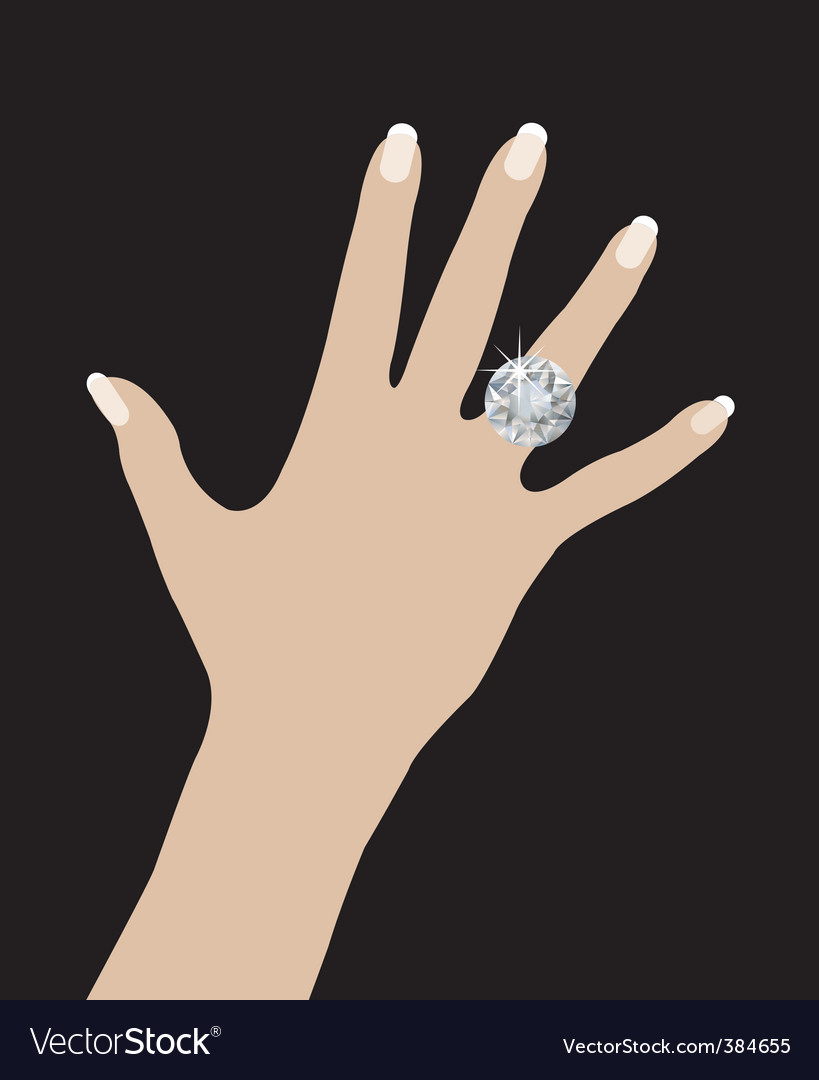 Wedding ring on hand vector