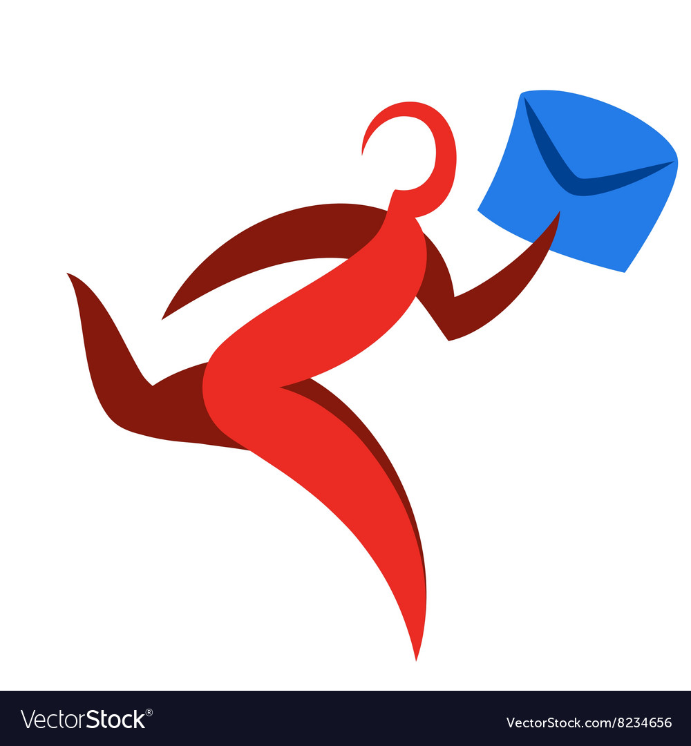 Abstract runner symbol delivery courier logo vector