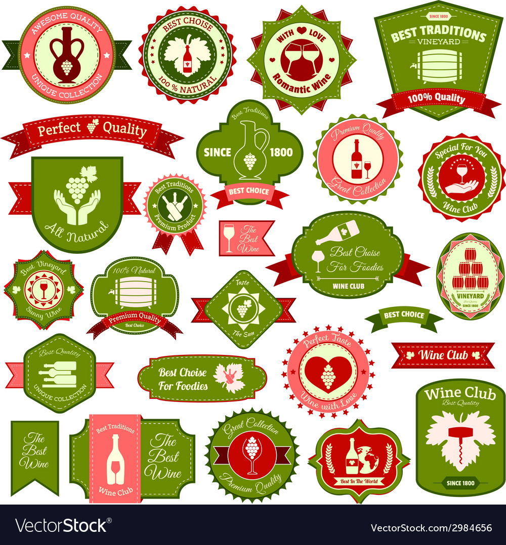 Wine label set colored vector