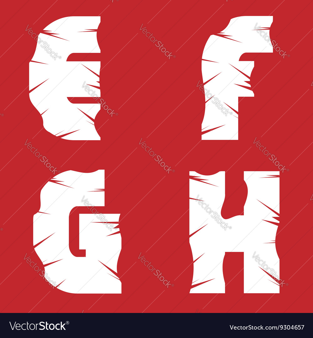 Efgh grunge letters vector