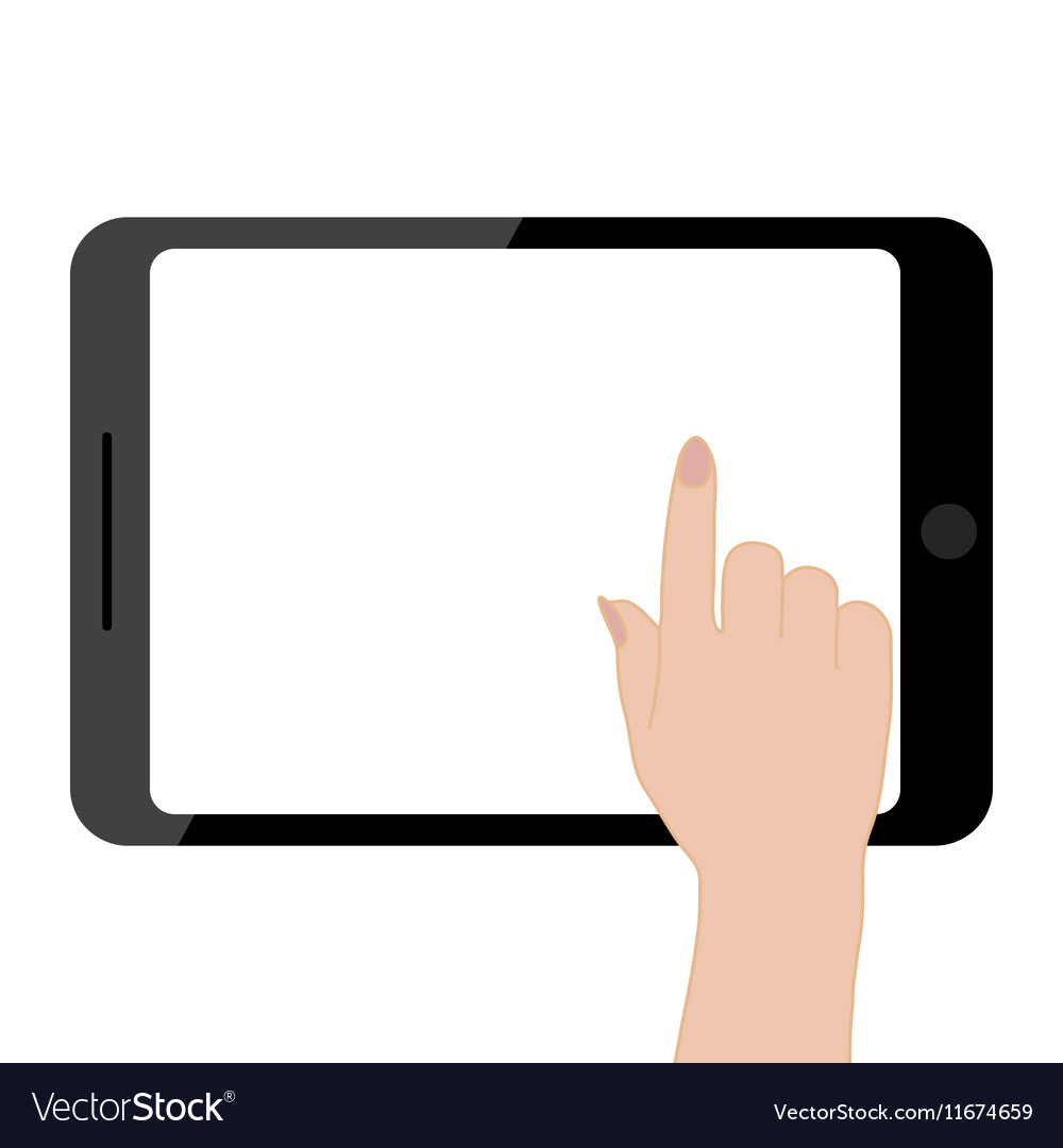 Female hands holding tablet computer touch screen vector