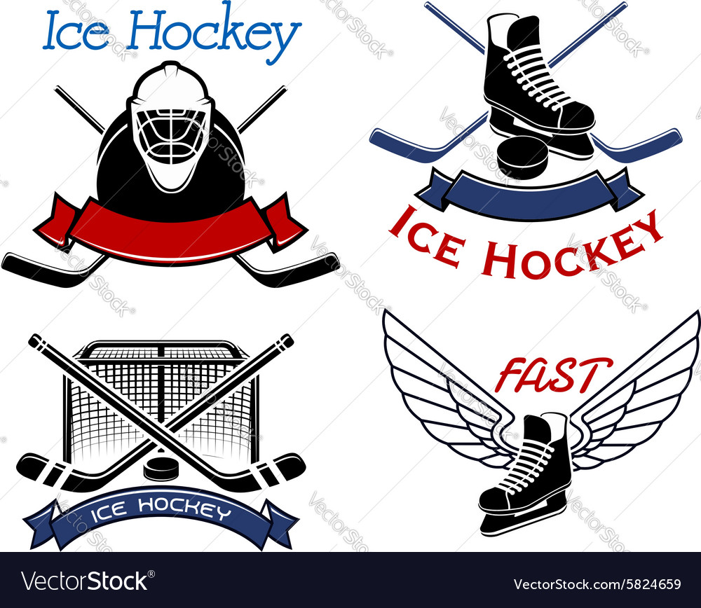 Ice hockey sport icons and symbols vector
