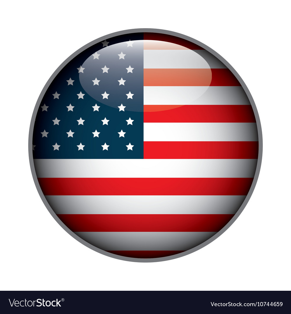 Icon flag button usa isolated vector