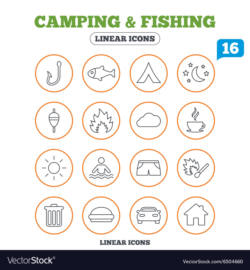 Camping and fishing icon coffee cup hamburger vector