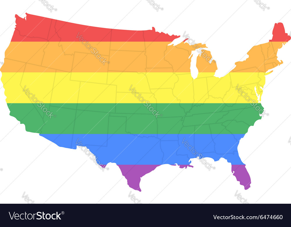 Map of the united states of america in lgbt flag vector