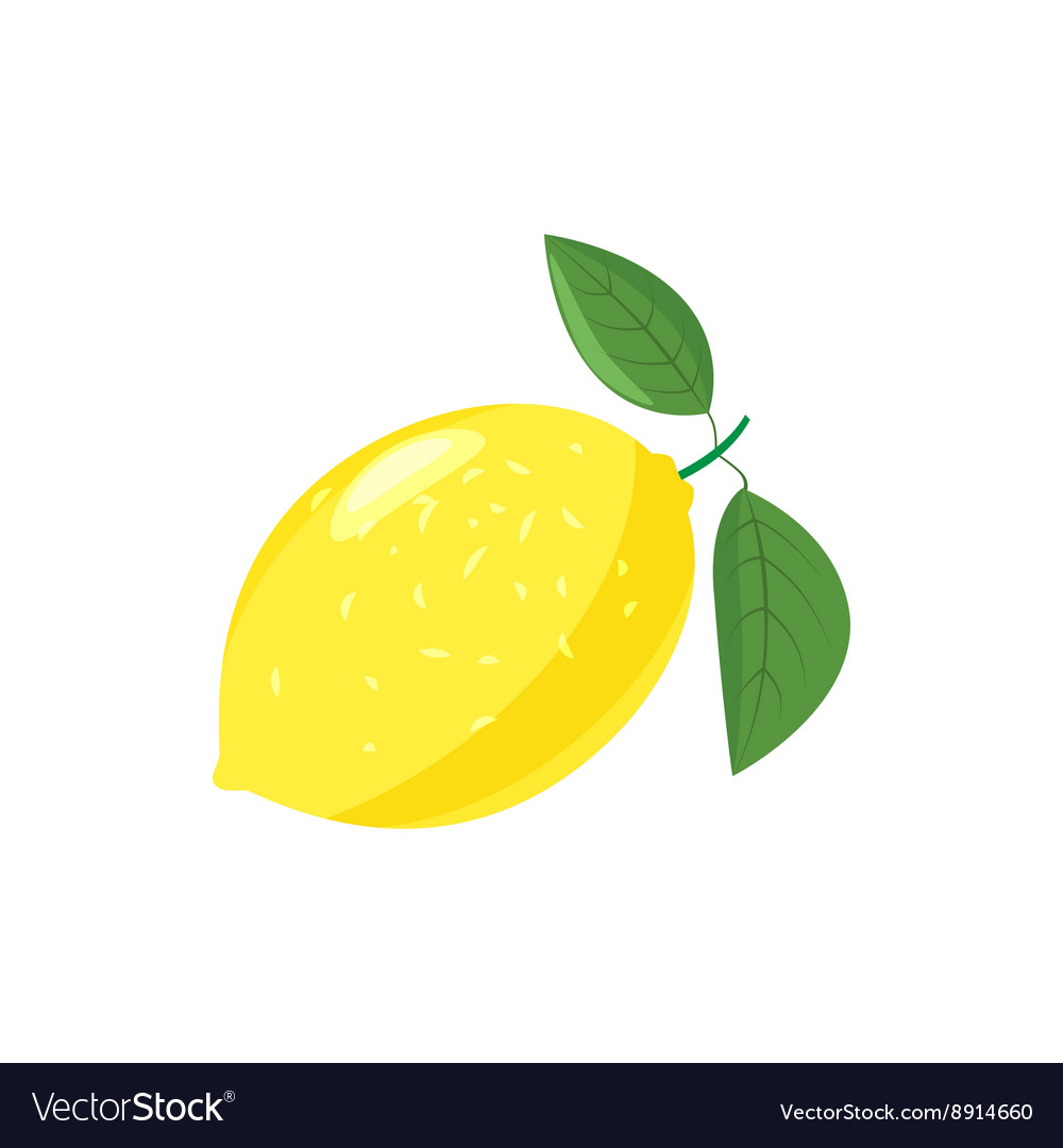 Yellow lemon icon cartoon style vector