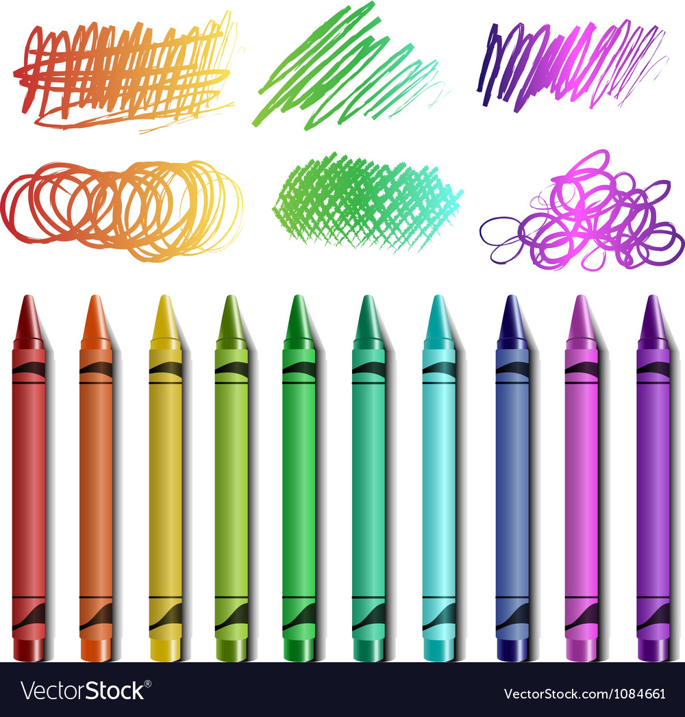 Crayon set with sketches vector