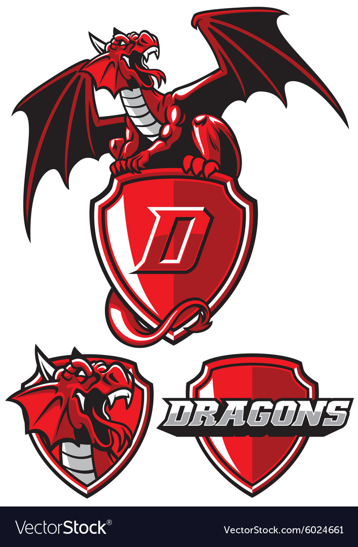 Dragon mascot set vector
