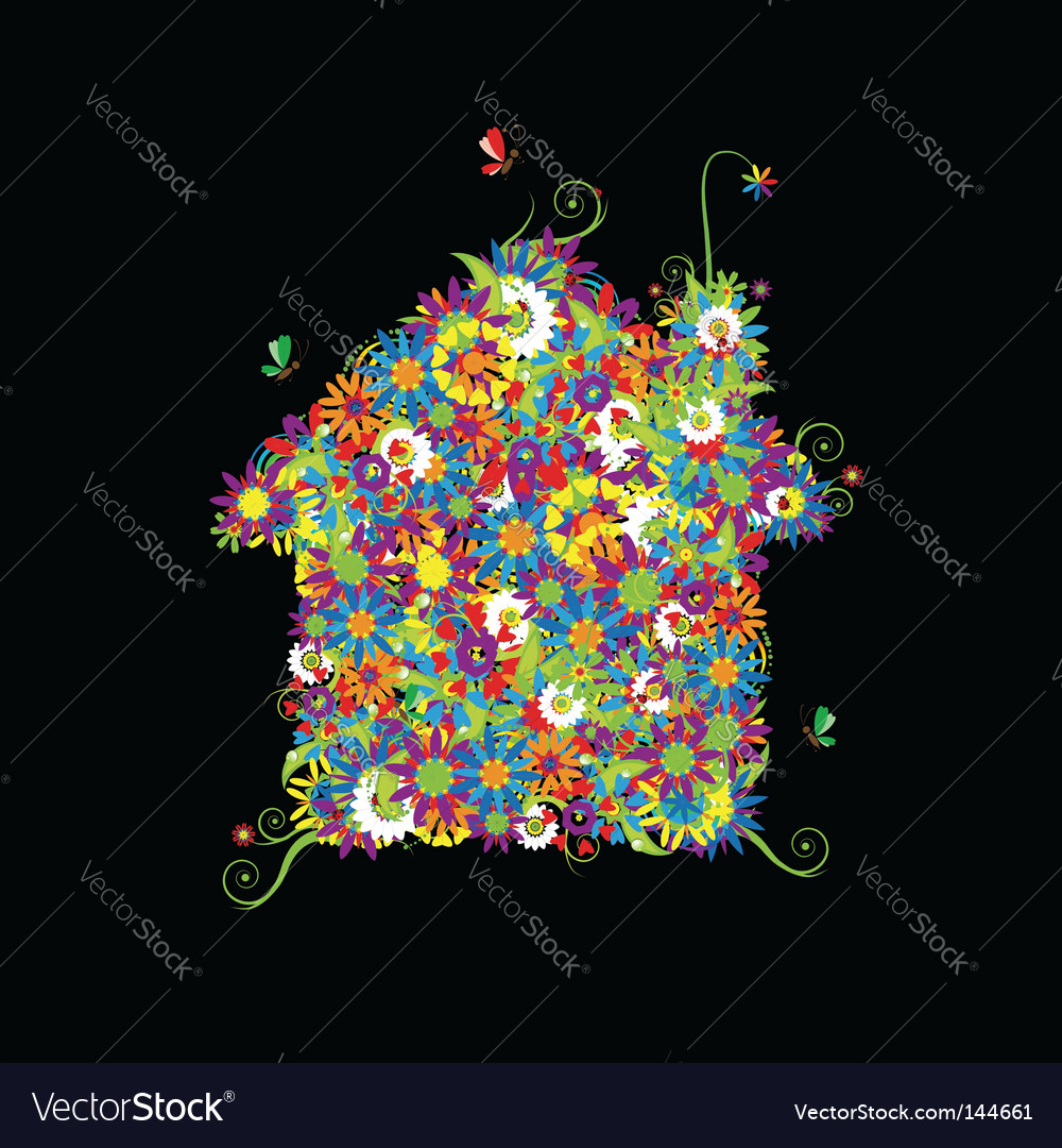 Floral house shape vector
