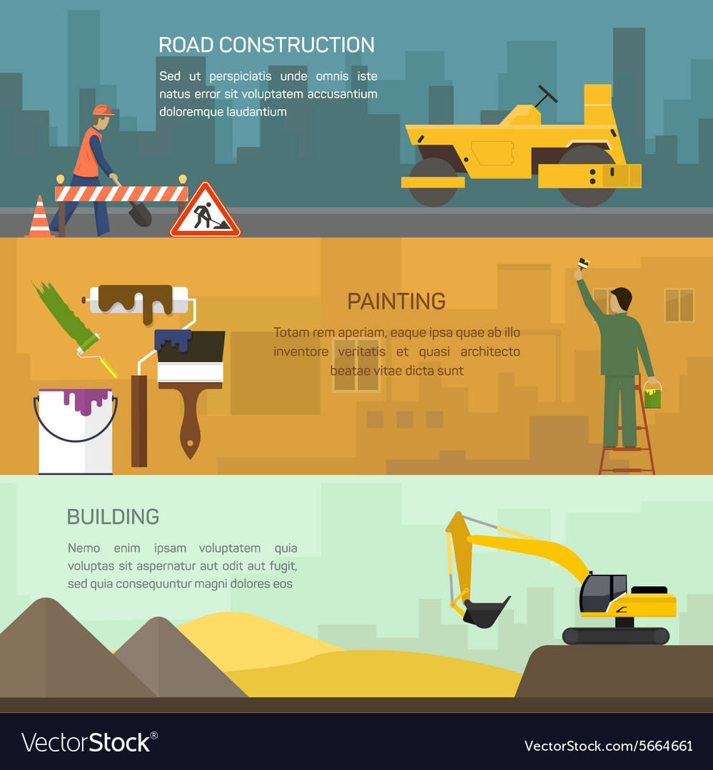 Road construction painting vector