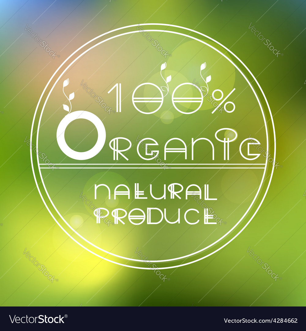 Blurred nature background with eco label of vector