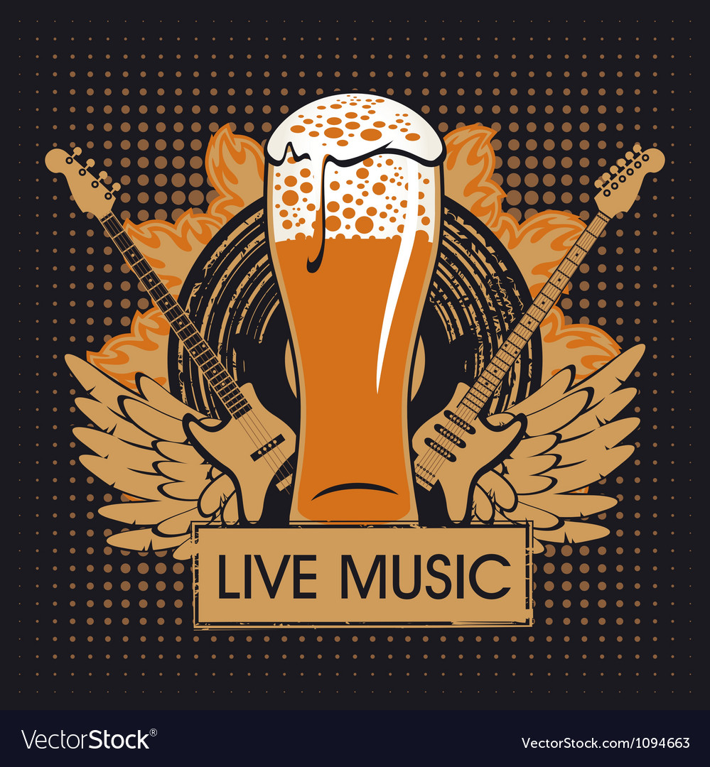 Pub with live music vector