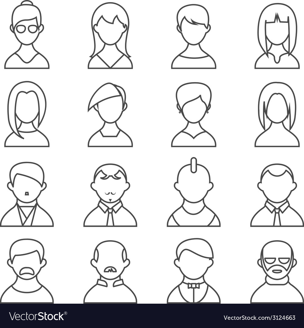 Set of people outline icons vector