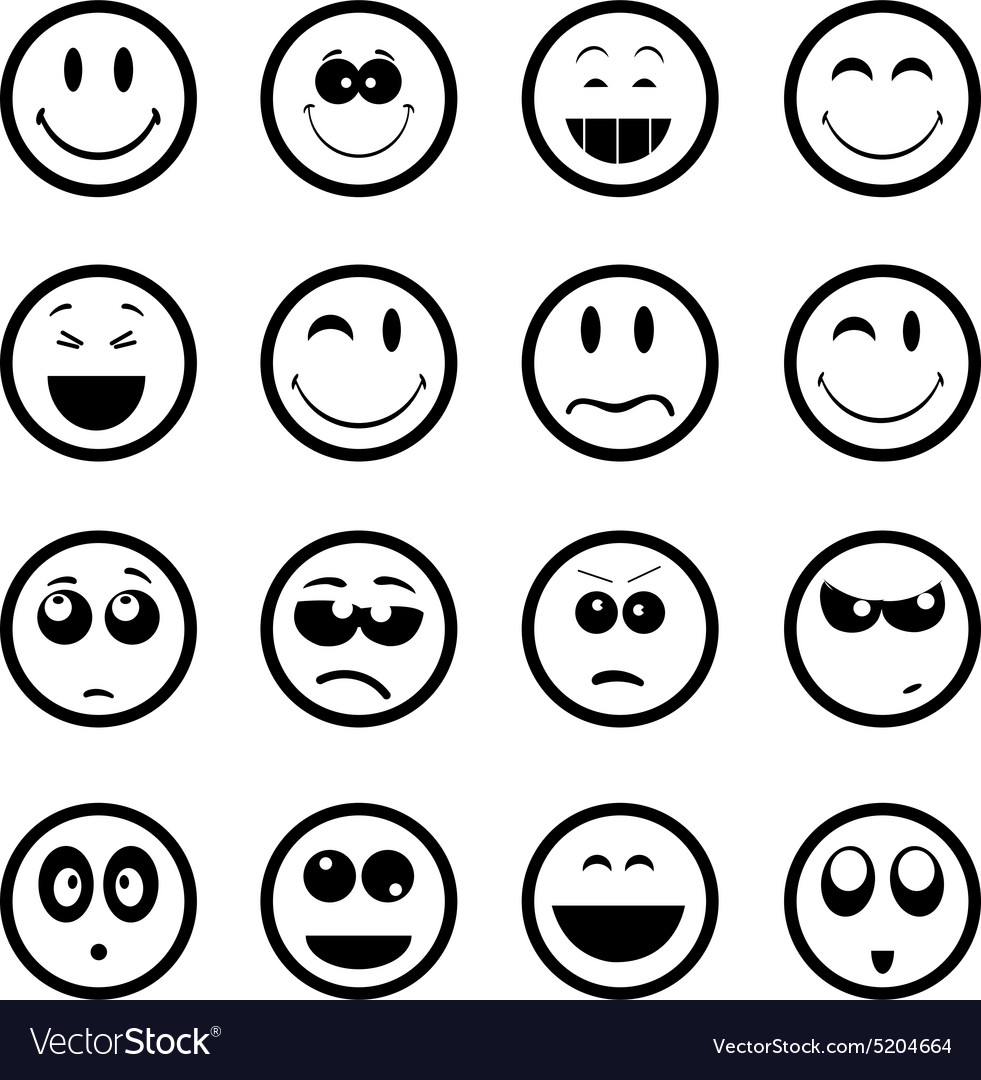 Smiley faces icons set vector