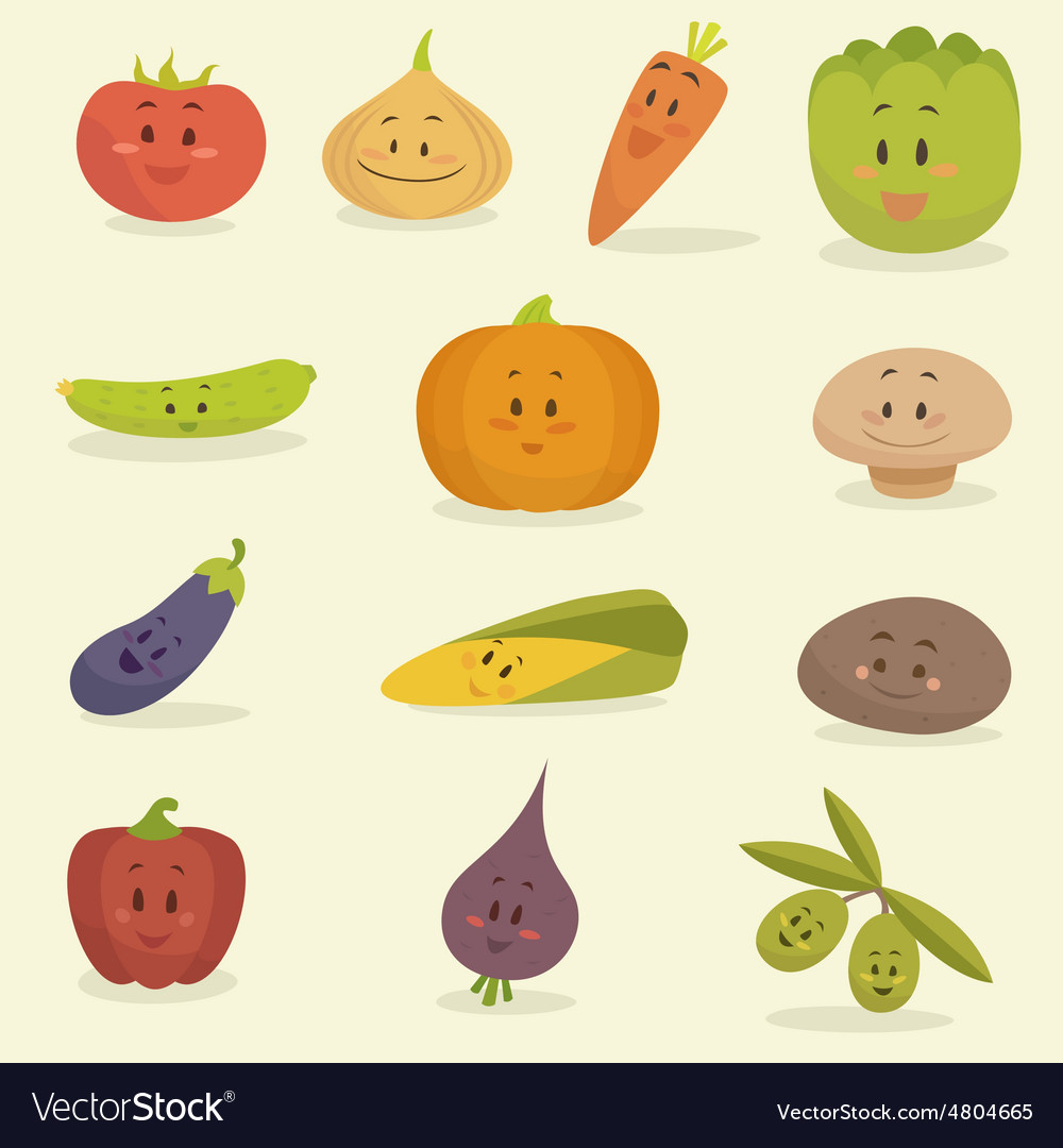 Funny vegetables flat style vector