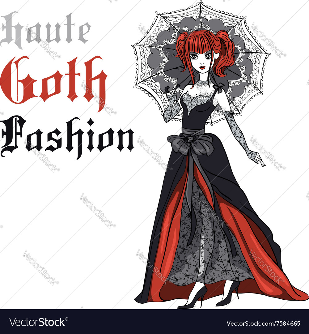 Goth girl in black dress with umbrella vector