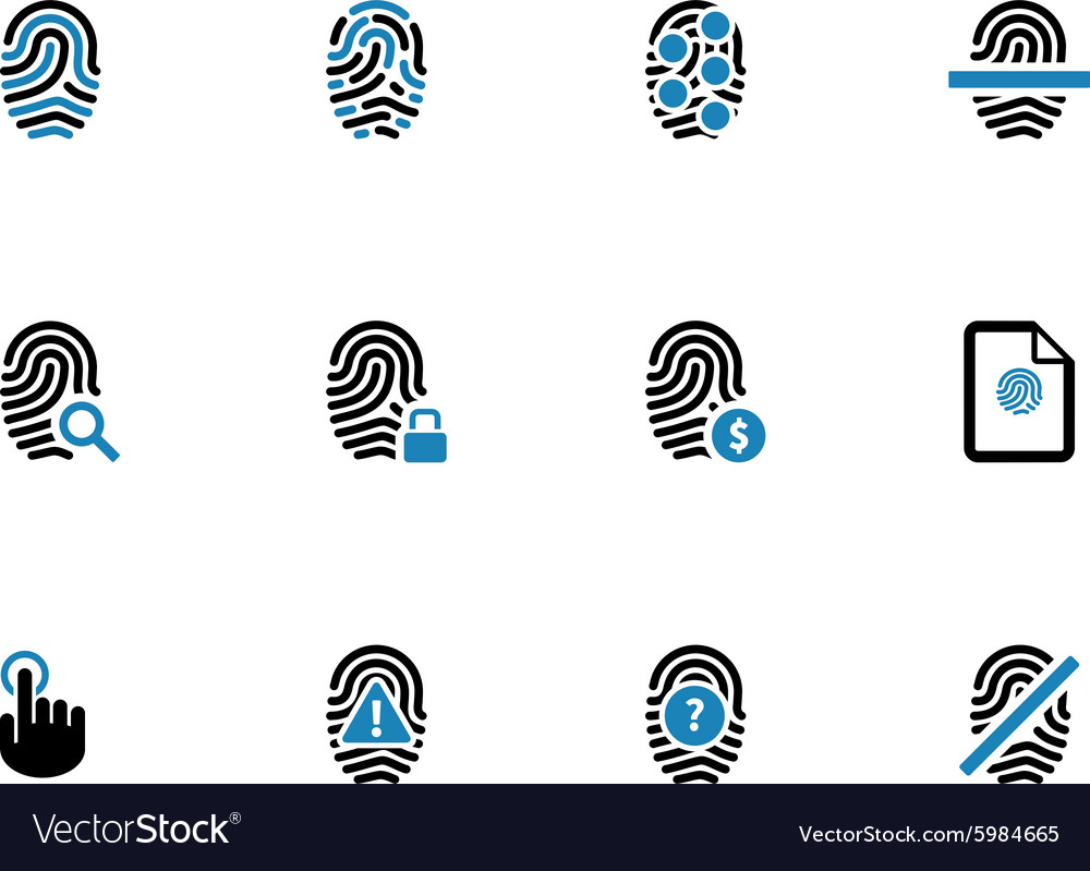 Security fingerprint duotone icons vector