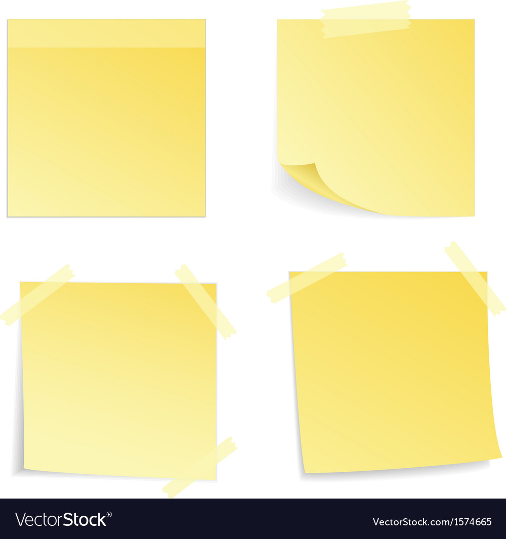 Yellow stick note isolated vector