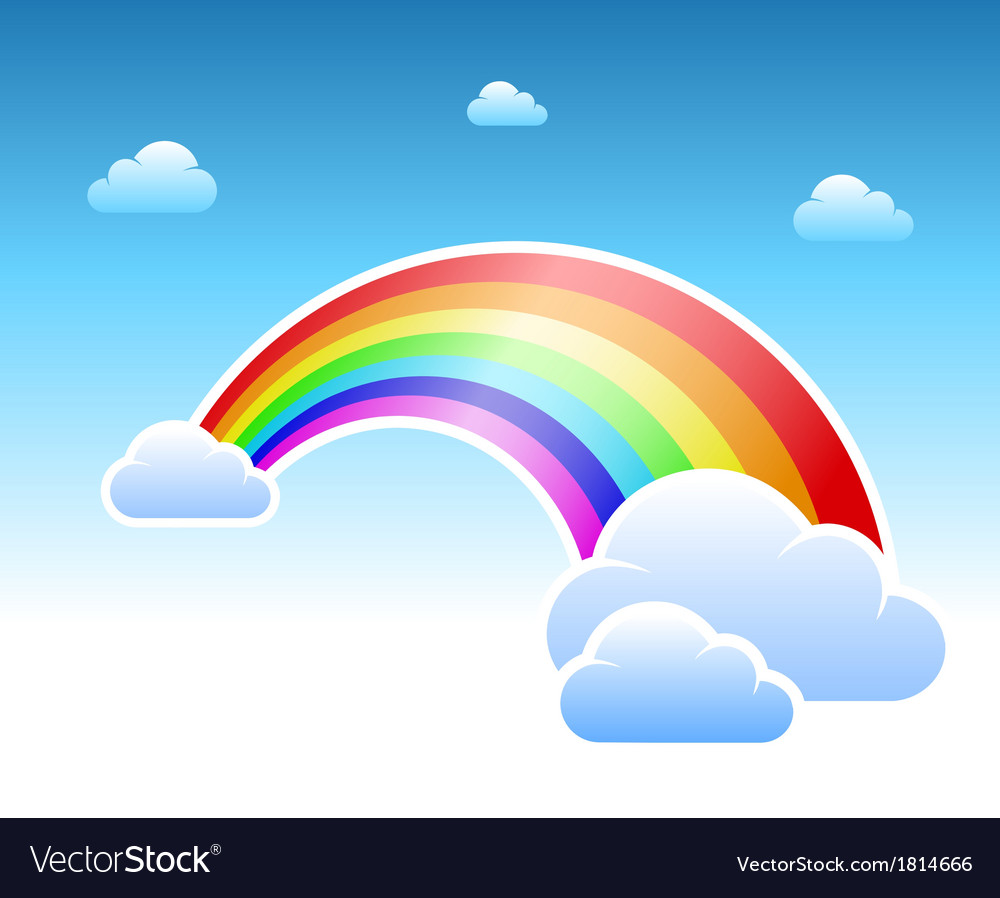 Abstract rainbow and clouds symbol vector