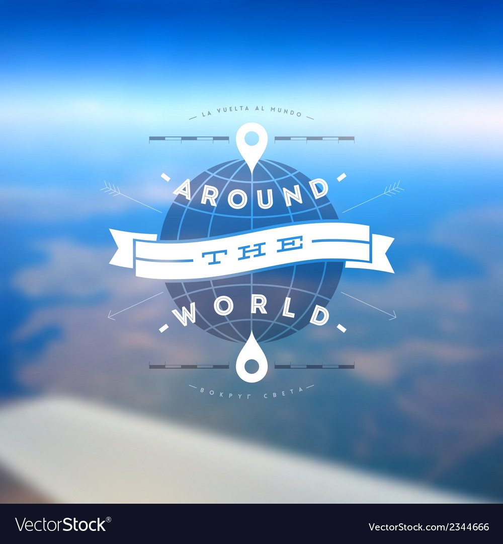 Aroun the world type design vector