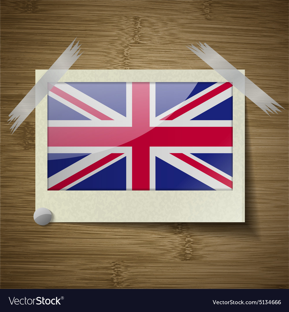 Flags united kingdom at frame on wooden texture vector