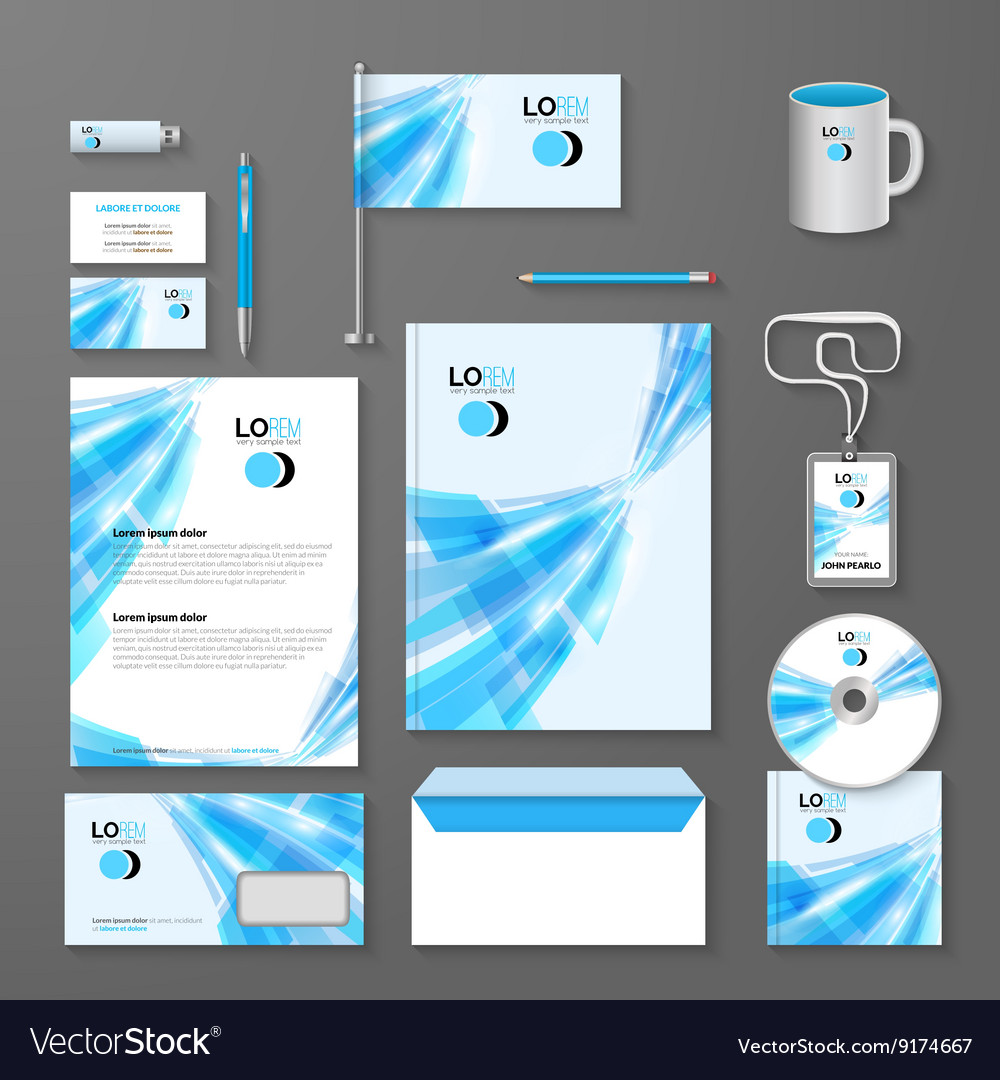 Abstract blue lines corporate identity template vector