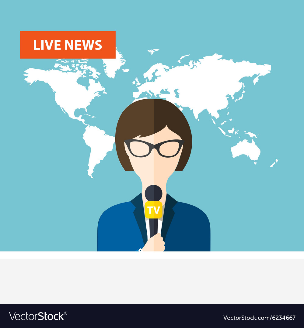 Female tv presenters sit at the table live news vector