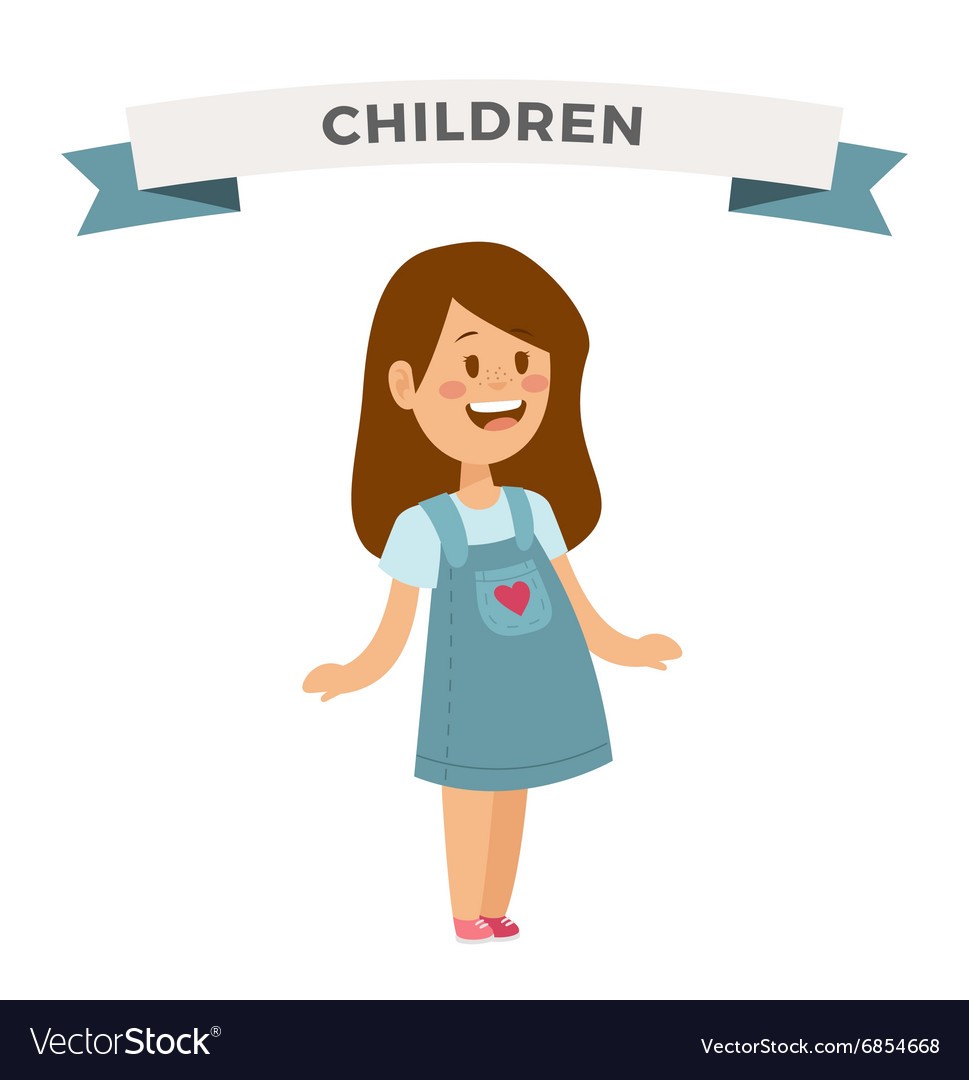 Cute little girl cute dress vector