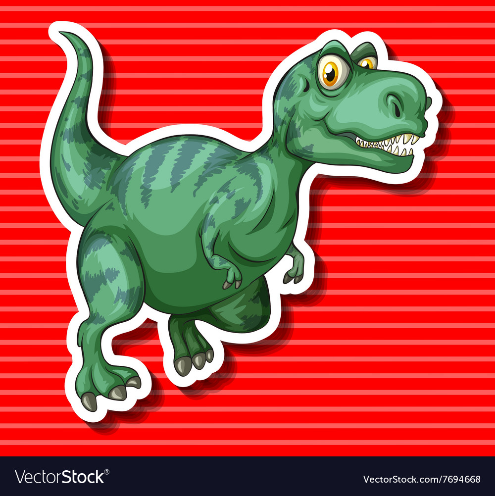 Green trex running alone vector