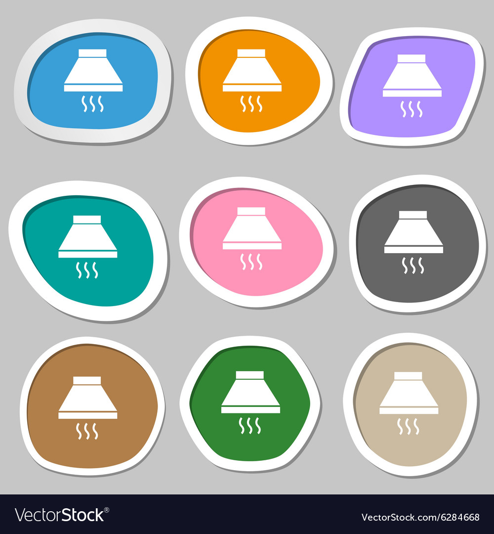 Kitchen hood icon sign multicolored paper stickers vector