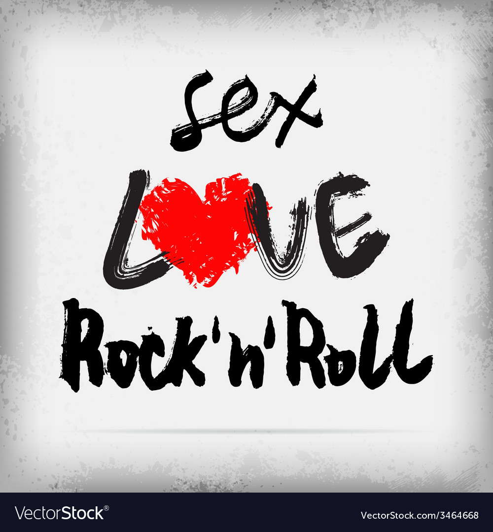Sex love rocknroll poster design vector