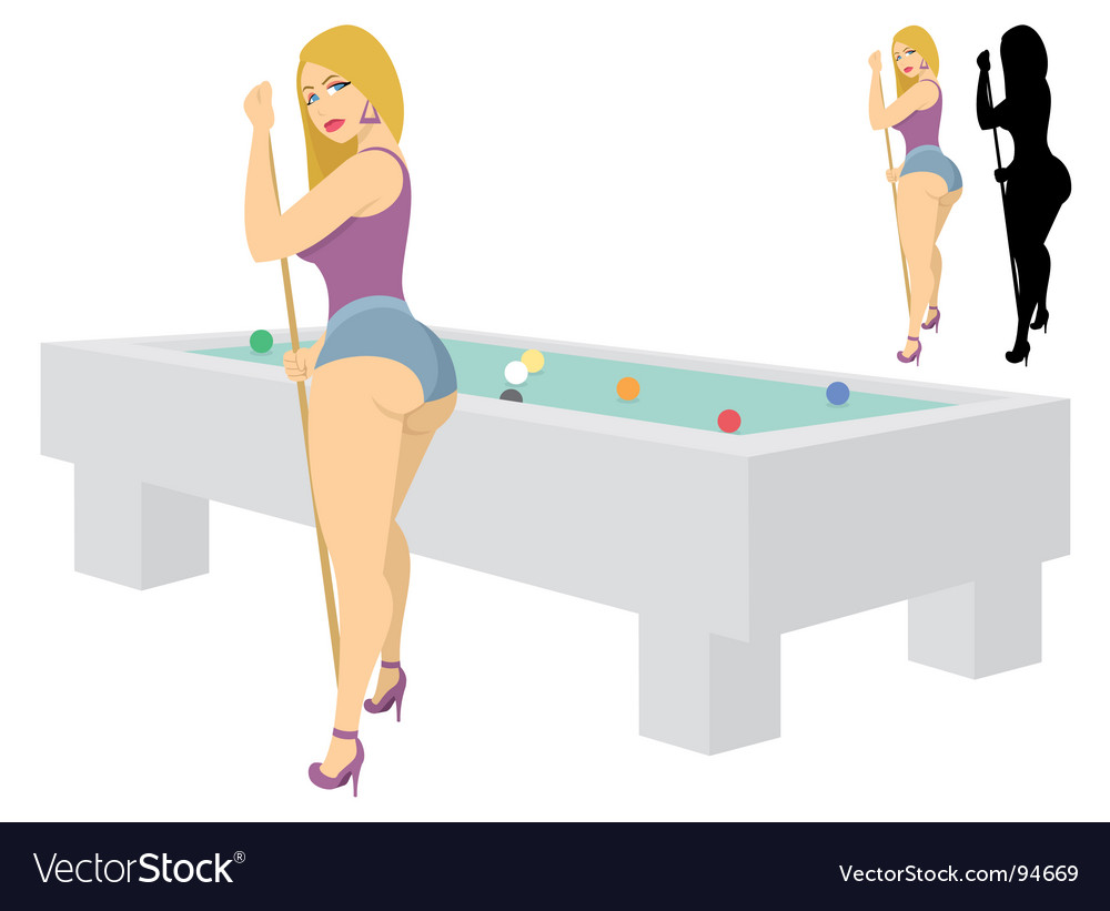 Billiard girl vector
