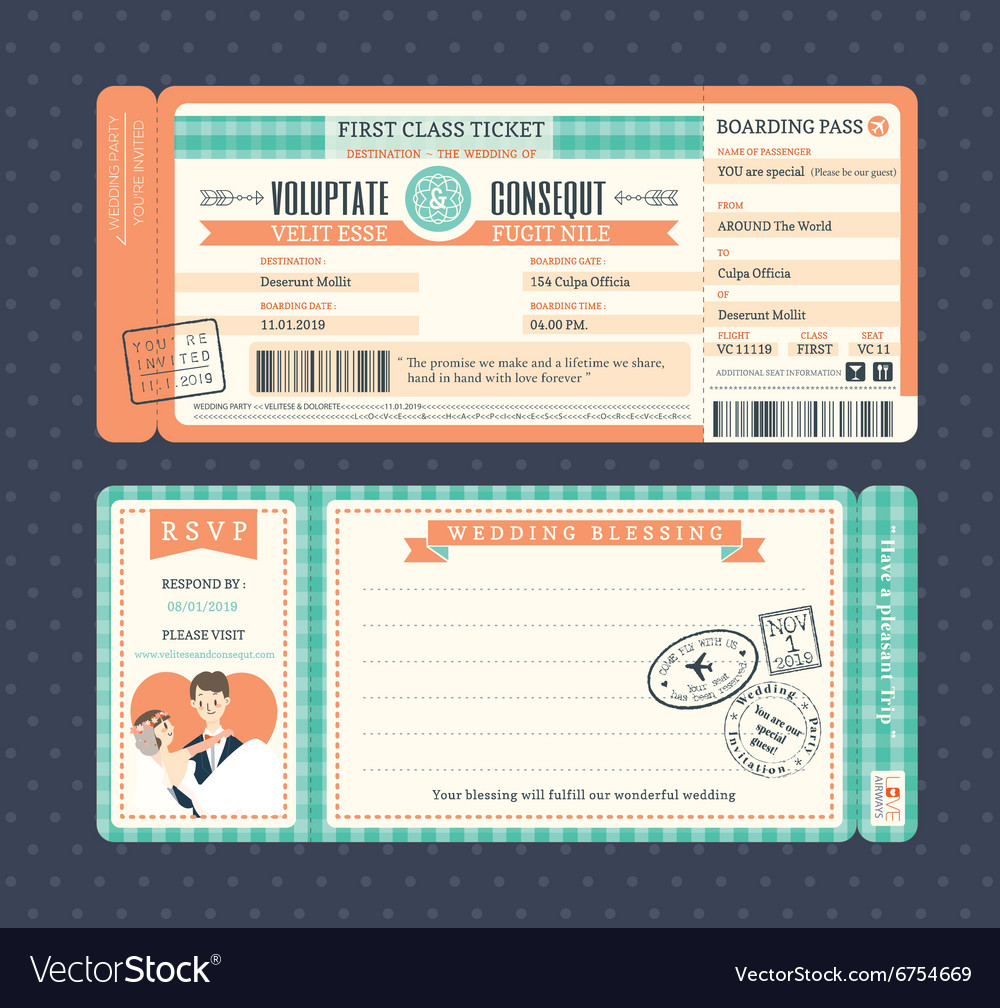 Pastel retro boarding pass ticket wedding card vector
