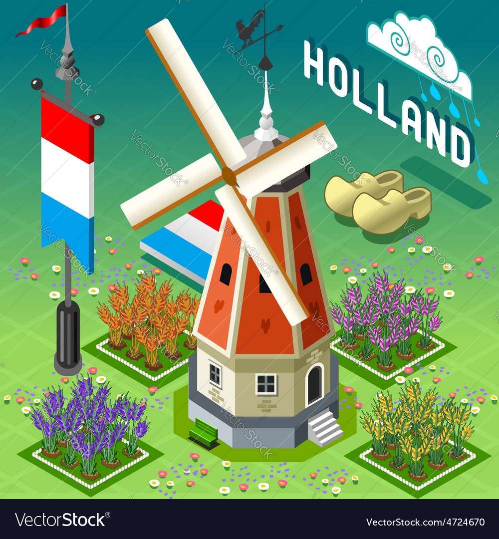 Isometric holland barn  windmill building vector