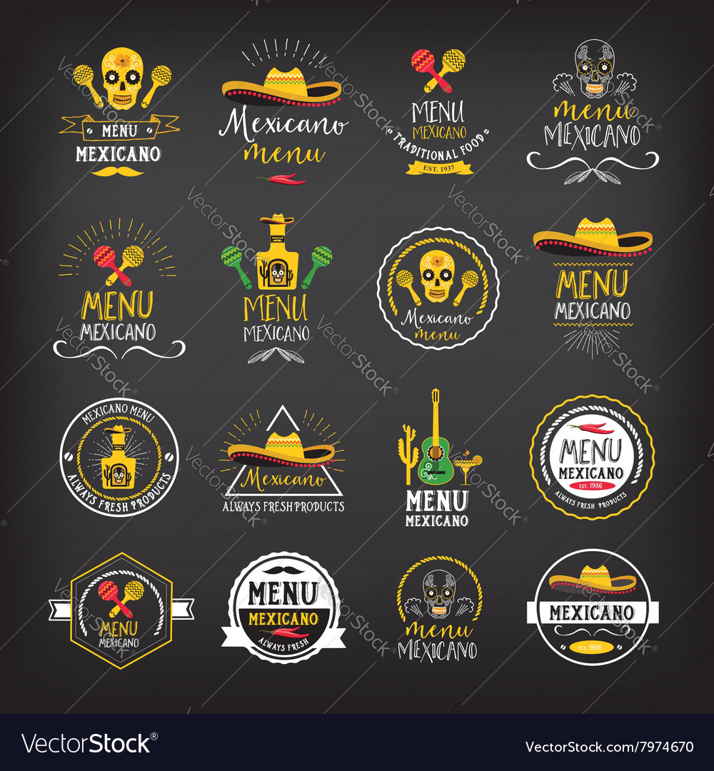 Menu mexican logo and badge design vector
