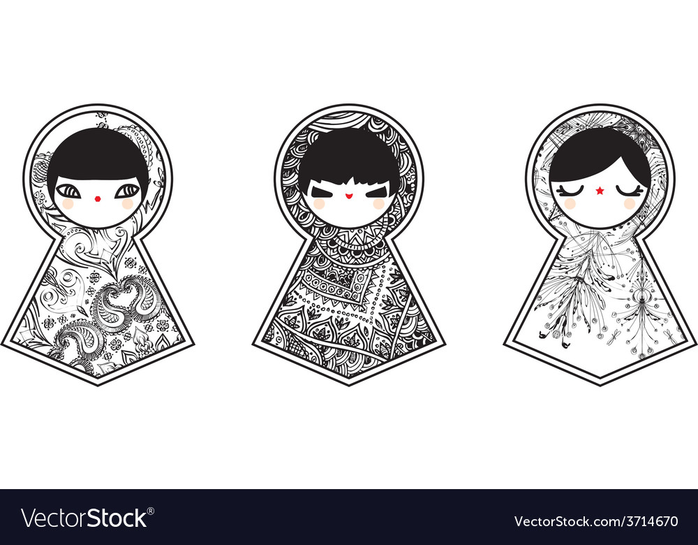 Three geometric babushka matryoshka dolls vector