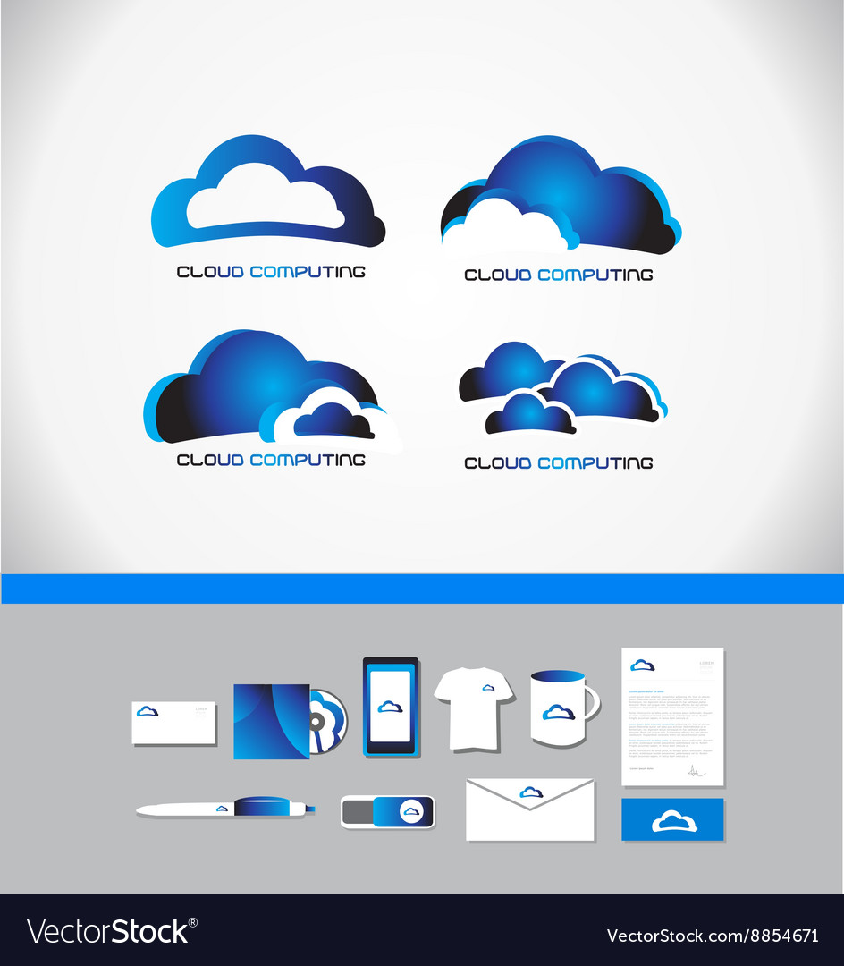 Cloud computing technology logo vector