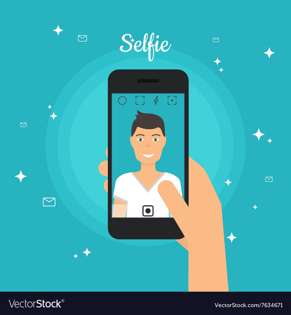 Man taking selfie photo on smart phone self vector