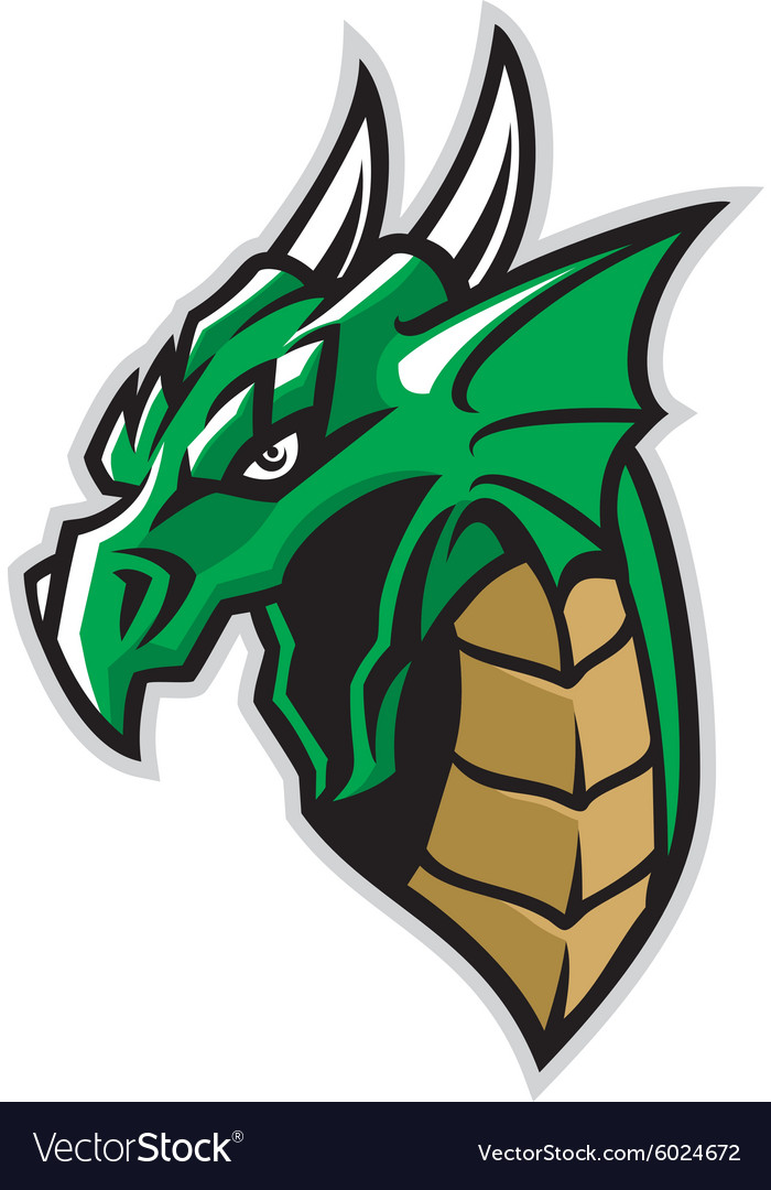Green dragon head mascot vector
