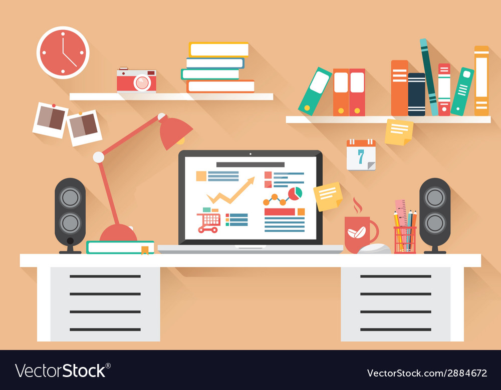 Home office desk  flat design long shadow work vector
