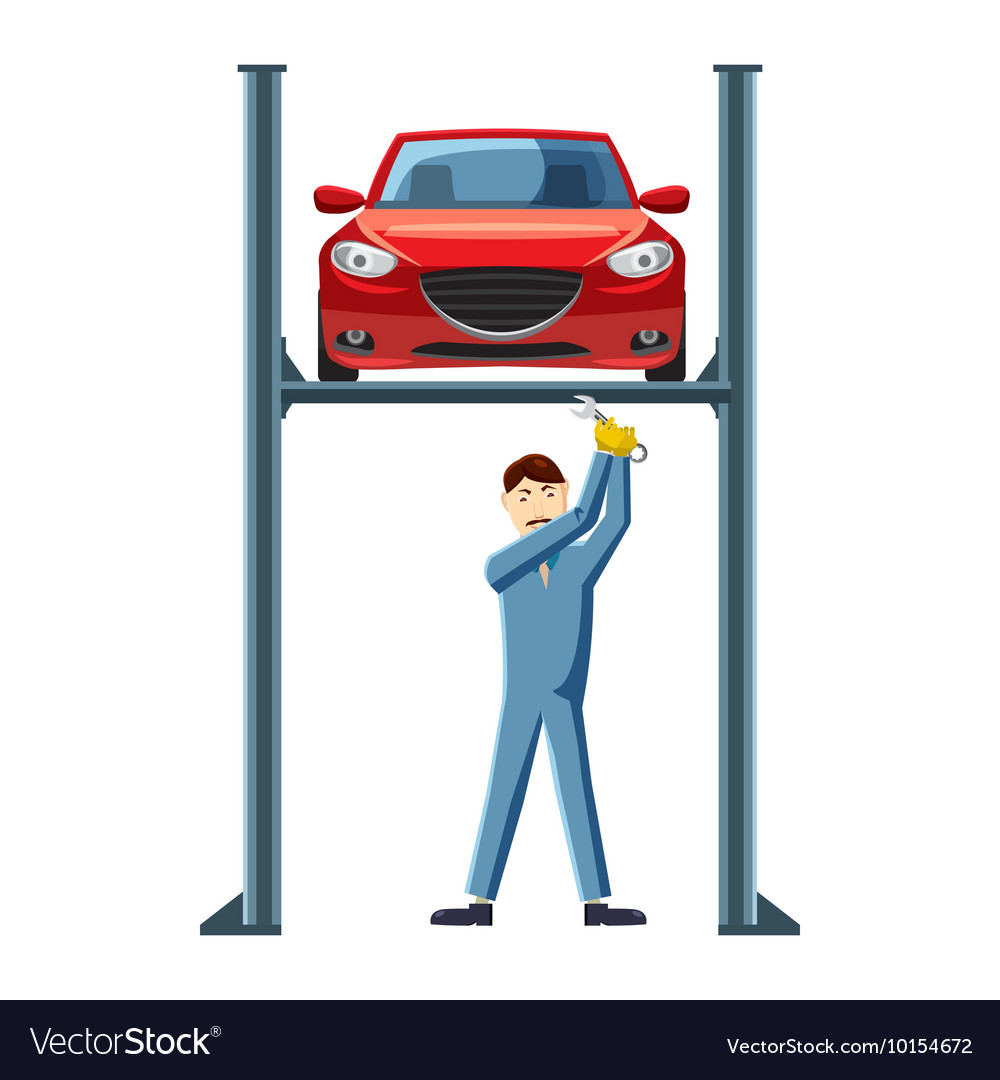 Mechanic repairing a car on a lift icon vector
