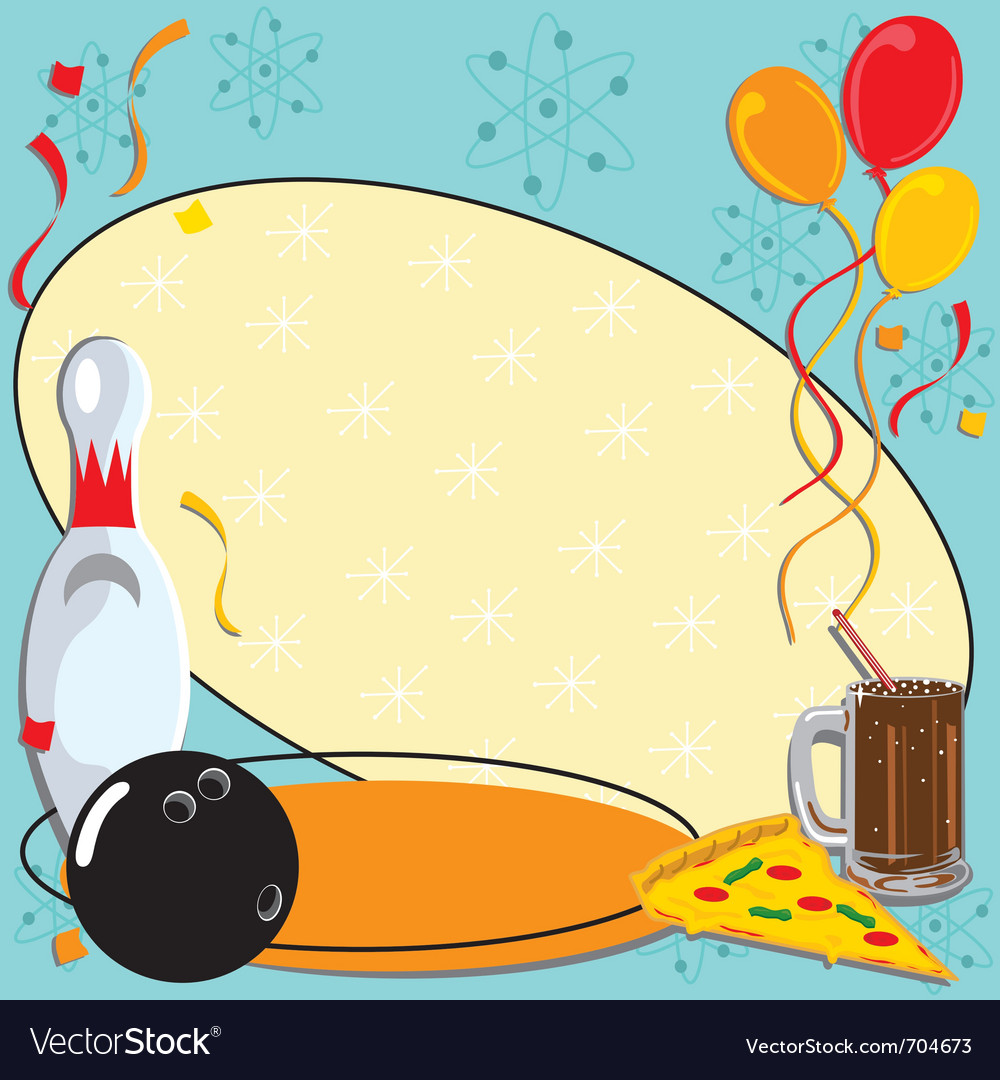 Retro bowling party invitation vector