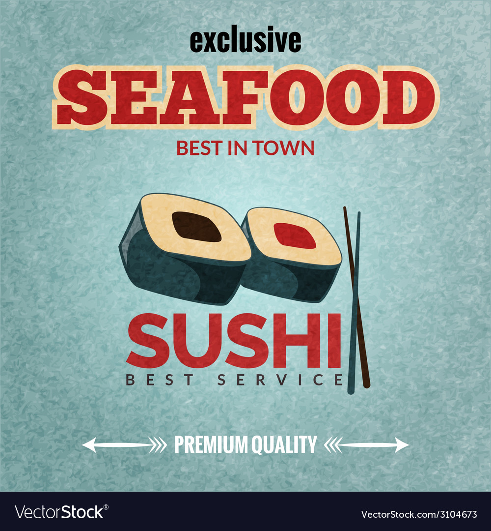 Seafood retro poster vector