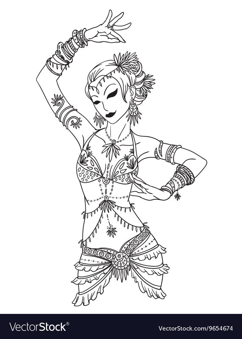 Belly dancer girl in hand drawn style vector