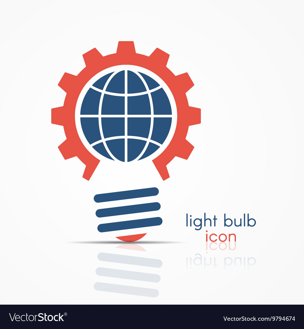 Gear light bulb idea icon with globe sign vector