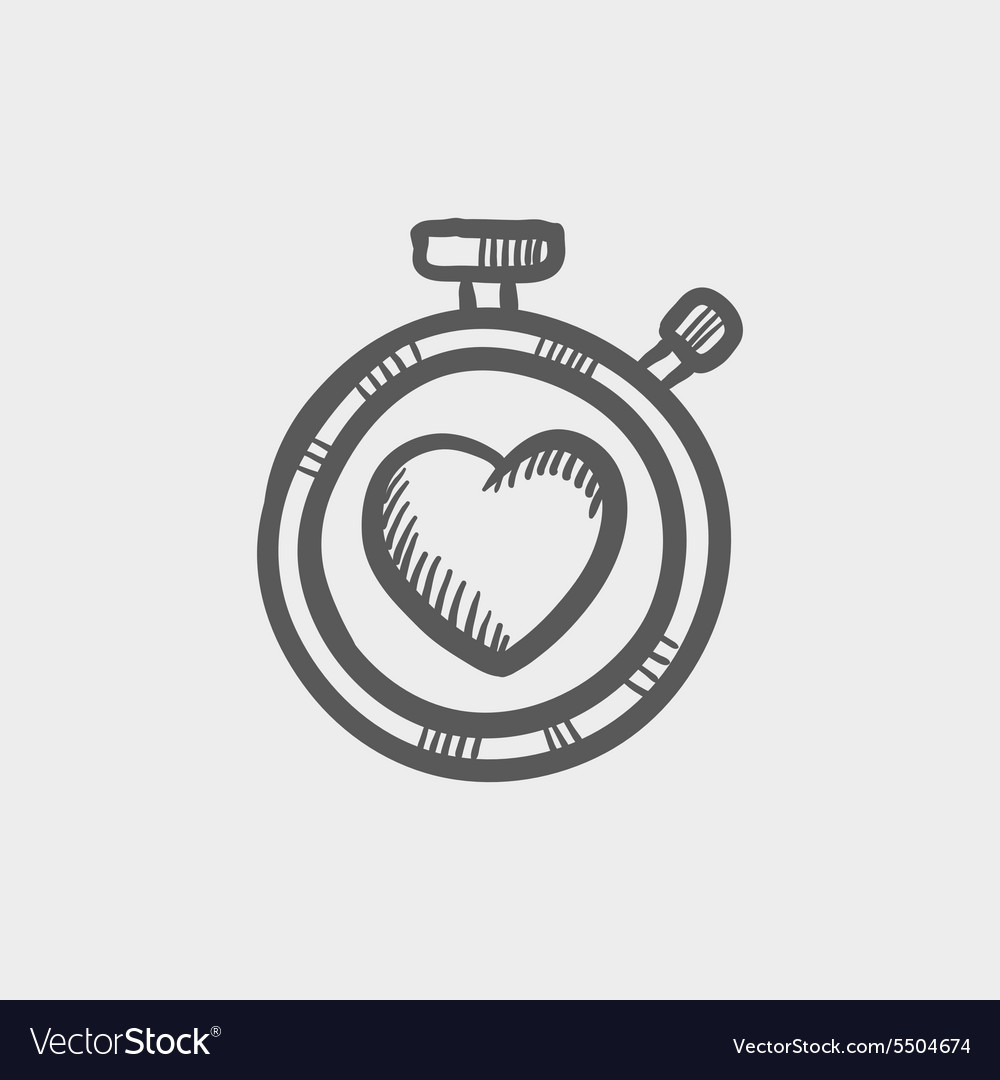 Heart time sketch icon vector