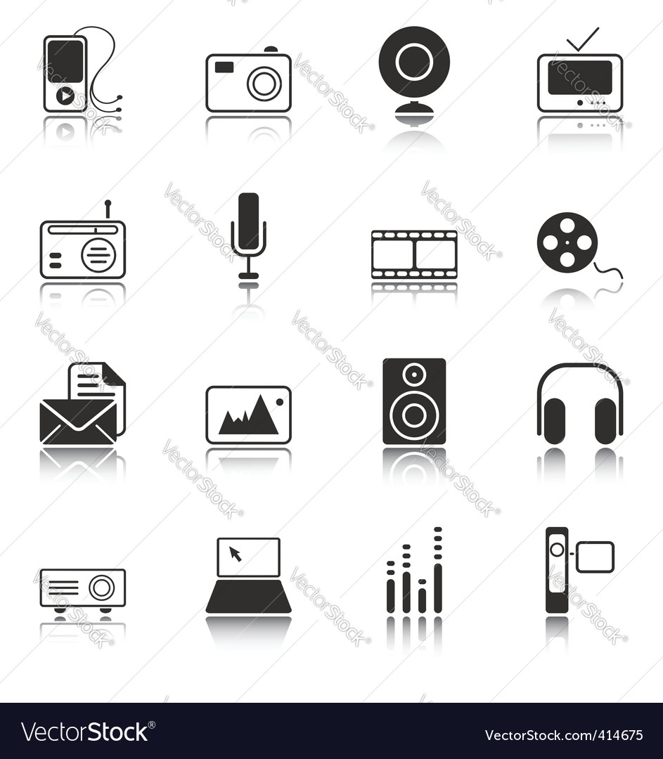 Mass media icons white series vector