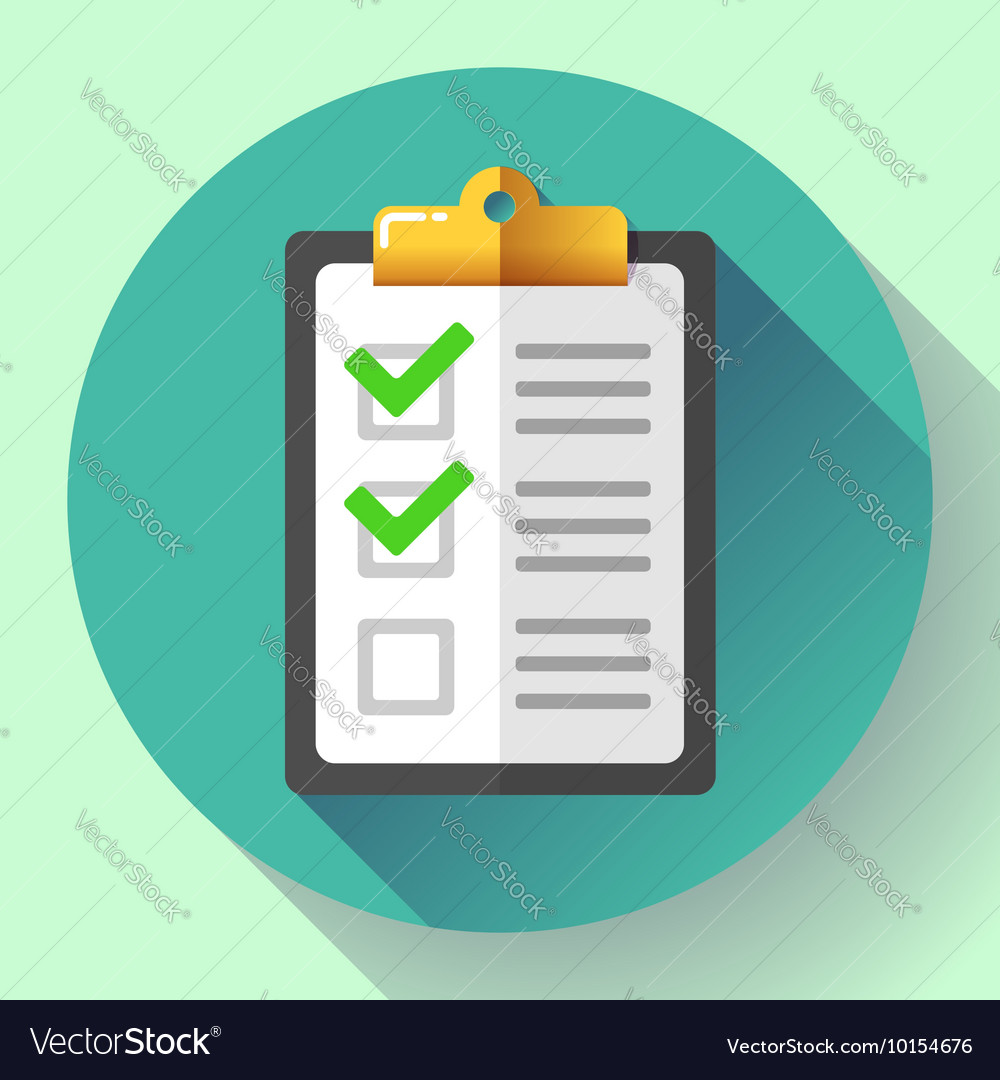 Clipboard with green checklist icon flat vector