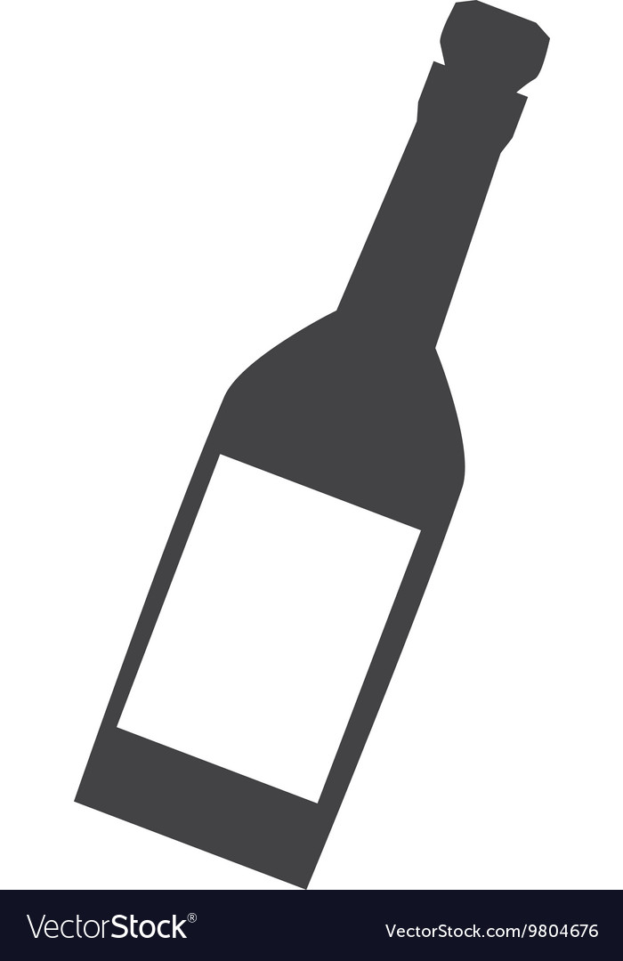 Wine or champagne bottle icon vector