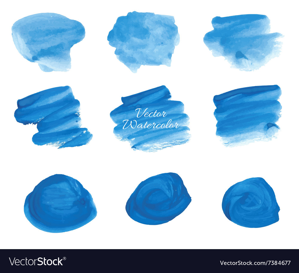 Blue watercolor stains set vector